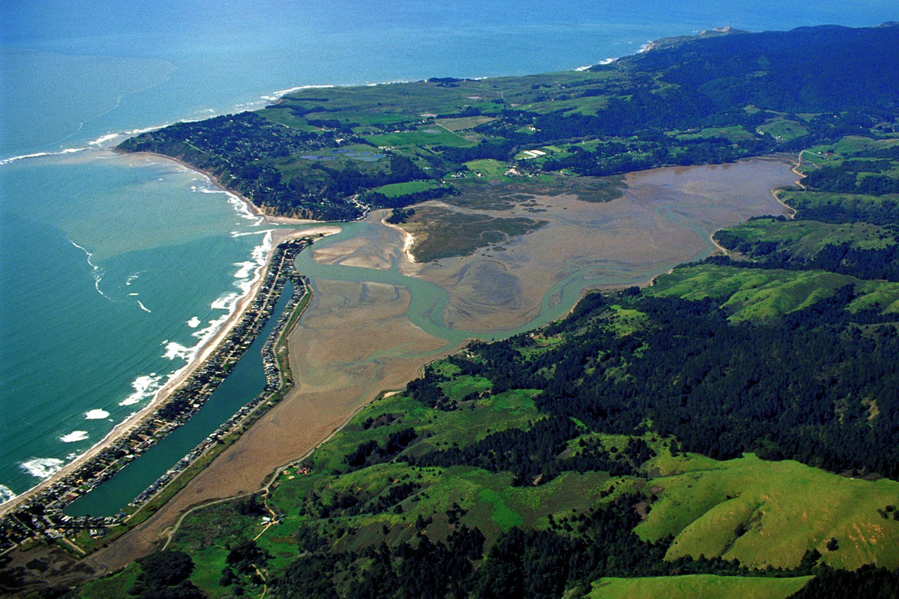 Aerial view of Bolinas Lagoon and peninsula, the setting for parts of Landscape: Memory. Image Army Corps of Engineers