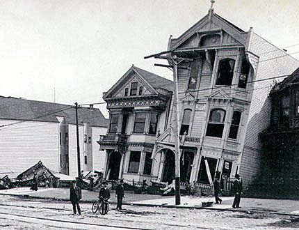 Sunken houses on Howard Street in 1906. Image from stereoscopic card.