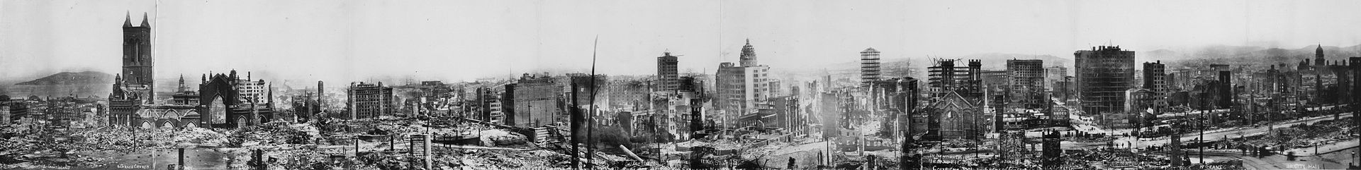 San Francisco panorama after the earthquake of 1906. Lester C. Guernsey - Photo by Lester C. Guernsey Via Library of Congress Panoramic collection
