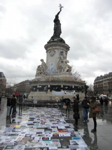 Charlie Hebdo memorial and Marianne statue, Place de la République, 15 January 2015.