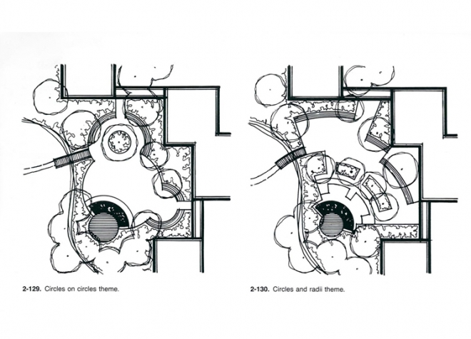 'Circles on circles theme' and 2-118 'Circles and radii theme' from Grant Reid's 'From Concept to Form in Landscape Design' (2nd Edition)