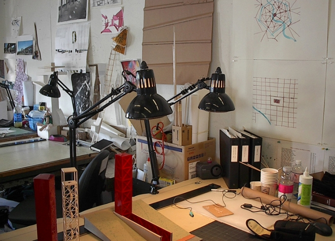 Design studio desk, early 21st Century, Rhode Island School of Design. Photo by author.
