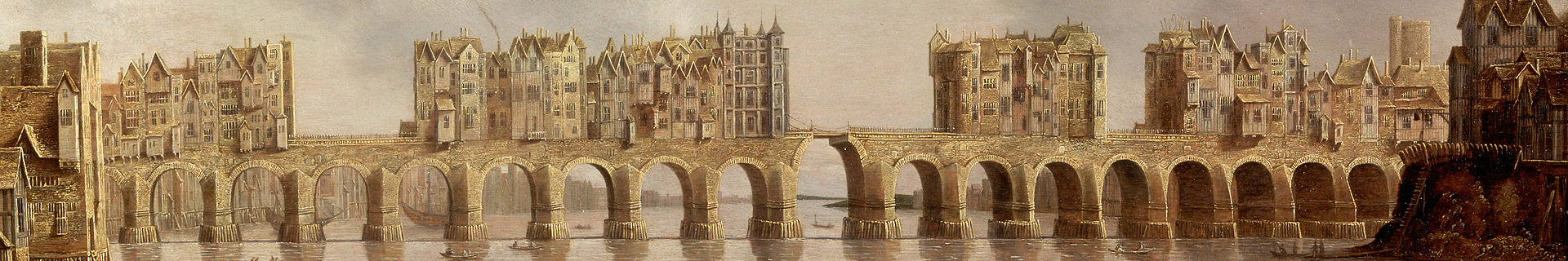 "Detail of Old London Bridge on 1632 oil painting ""View of London Bridge"" by Claude de Jongh. Image from Wikimedia"